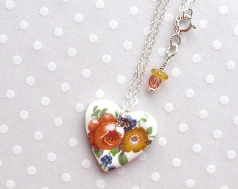 """SALE!  Heart Necklace. Porcelain. Rose. Glass Beads. Soft Red. Cobalt Blue. Yellow. Green. Ceramic. 18"""" Sterling Sillver Chain. Shabby Chic"""