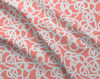 Rope Fabric - Nautical Rope Knots In Coral By Elliottdesignfactory - Rope Coral Pink and White Cotton Fabric By The Yard With Spoonflower