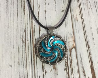 1.5 inch Scalemaille Chainmaille Pinwheel Turbine Portal  Pendant -Turqoise and Zebra Anodized Aluminum