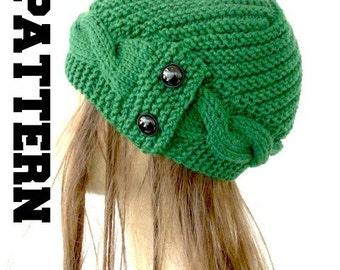 Womens Hat Knitting PATTERN PDF Digital  Instant Download Knit hat pattern  Cable Knit hat Pattern Cloche Hat Knit Pattern Womens hat