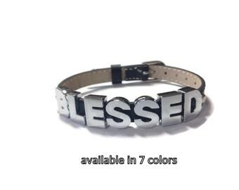 BLESSED Bracelet - Blessed Leather Buckle Bracelet Wristband Strap - Word Bracelet - Charm Bracelet