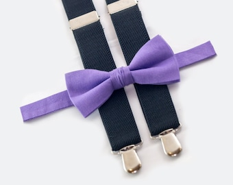 lilac bow tie & black suspenders wedding boy suspenders and bow tie ring bearer outfit
