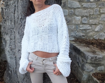 Off white sweater, extra long sleeve pullover, cropped sweater, knit cropped sweater, loose knit