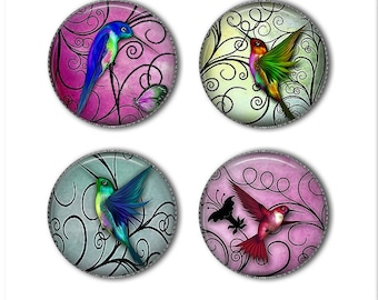 Hummingbird magnets or hummingbird pins, Hummingbird buttons, bird magnets pins, refrigerator magnets, fridge magnets, office magnets
