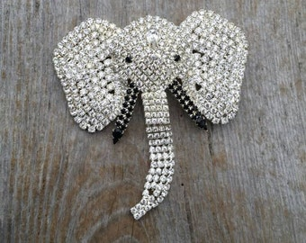 Giant Rhinestone Elephant Statement Brooch with Articulated Trunk
