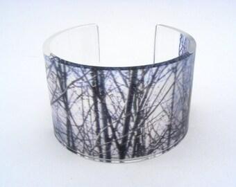 Perspex Cuff, Winter Woodland Trees, Handmade wide cuff bangle
