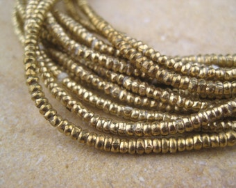 Brass Heishi Beads From the Villages of Ethiopia! African Metal Beads - Brass Spacers - Wholesale African Beads - Brass Beads 253
