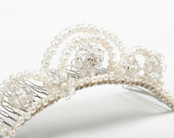 Cream, Ivory Pearl & Rhinestone Wedding Tiara Comb