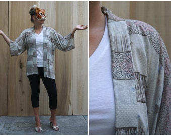Vintage Hand Stitched Short Kimono Style Open Robe Jacket with Attached Sleeves | OS
