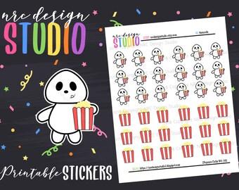 SALE Planner Stickers Printable, Movie Night, Popcorn Planner Stickers - Popcorn Cutie No. 06