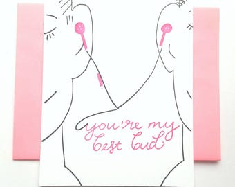 Letterpress Best Friend Card- Best Bud - Valentine