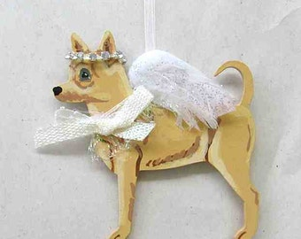 Hand-Painted CHIHUAHUA Feathered Wing Angel Wood Ornament