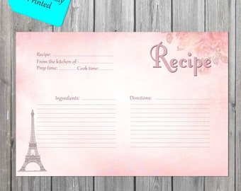 Paris Recipe Card, Bridal Recipe Cards, Wedding Recipe card, Chic Recipe cards PROFESSIONALLY PRINTED also available as an Instant Download