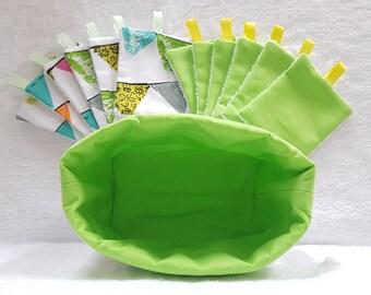Lingettes lavables Bio (x12) pour Bébé ou Maman et son panier vide poche assorti