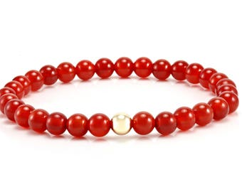 Mens Carnelian Gemstone Bracelet-9ct Gold Bead-Mens Beaded Bracelet-Mens Gemstone Bracelet-Stackable Bracelets-Gifts for Him-Fathers Day