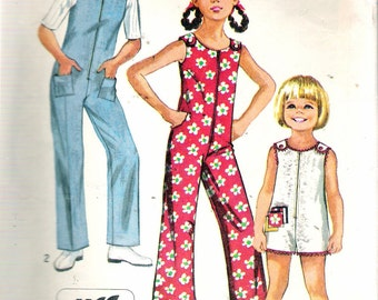 Vintage 1970 Simplicity 8768 Girl's Jiffy Jumpsuit in Two Lengths Sewing Pattern Size 7 Breast 26""