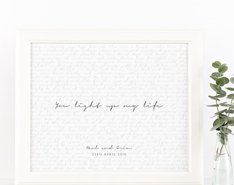 PRINTABLE Valentines Day Gift. Wedding Vows Keepsake Print for Newlyweds & Anniversaries - You Light Up My Life