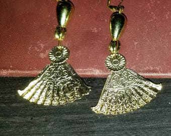 Gold Chinese Fan Earrings