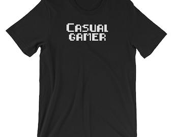 Casual Gamer 8Bit Graphic Text T-Shirt