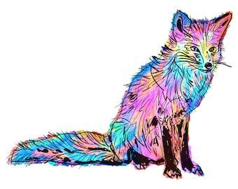 "Fox(1) Giclée Print - Cavanata - 8"" X 10"" Fox Graphic Fine Art Print, Original Illustration, Animal Art"