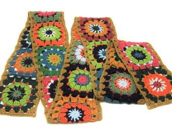 Granny Square Scarf - Crochet Wagon Wheel Design
