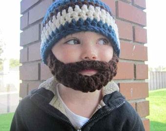 Kids ULTIMATE Bearded Beanie Windsor Blue Mix