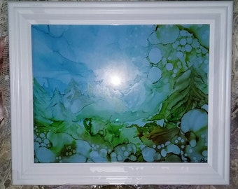 OOAK Alcohol Ink Painting 'Sunrise in the Rockies', Framed