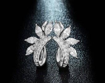 Cubic Zirconia Bridal Earrings, CZ Wedding Earrings, Bridal Dangle Earrings, Bridal Earrings, Bridal Crystal Earrings