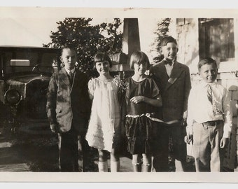 Old Photo Dressed up Girls and Boys wearing Dresses and Suits Photograph 1920s vintage Children Kids