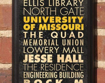 Missouri Tigers Points of Interest Wall Art Sign Plaque, Gift Present, Home Decor, Vintage Style, Mizzou truman black gold man cave Classic