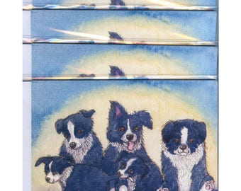 4 border collie dog greeting cards say cheese family portrait taking a photo camera shy pup puppies from a Susan Alison watercolor painting