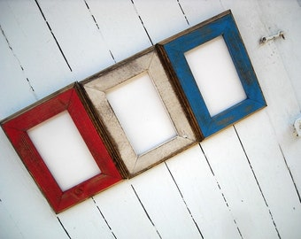 4 x 6 Picture frame set,  Red White and Blue Patriotic Set, Rustic Weathered Style With Routed Edges, Rustic Home Decor, Red, White and Blue