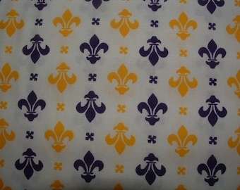 1 Yard Purple and Gold Fleur de Lis Fabric by Classic Cotton
