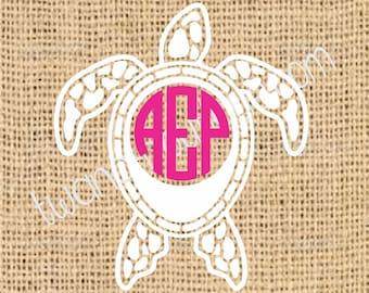 Sea Turtle Monogram Sticker~ Two Color ~ Custom ~ Vinyl ~ Decal