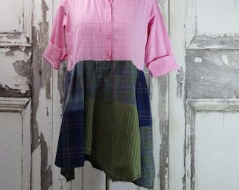 Tunic Dress Upcycled Clothing  Eco Fashion Lagenlook Upcycled  Dress Boho Chic Large