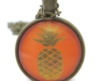 Pineapple Necklace, Pineapple Pendant with Chain, Gold and Orange, Bronzed, Fruit, Art Pendant