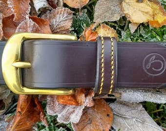 Luxury handmade Havana English leather belt
