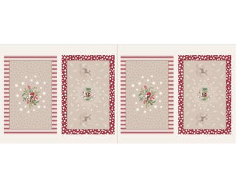 Christmas Placemats Panel - Beige/Red 25-1 by Lewis & Irene Cotton Fabric Yardage