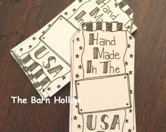 Handmade In The USA Hang Tags/Price Tags in WHITE - 36/pkg