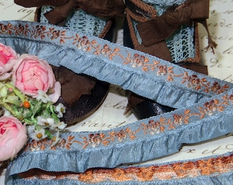 1y FRENCH DUSTY BLUE Brown Ombre Ruffle Jacquard Ribbon Flower Trim Daisy Rosette Rococo Rose  Ruch Doll Dress Bear Antique Vintage Brocade