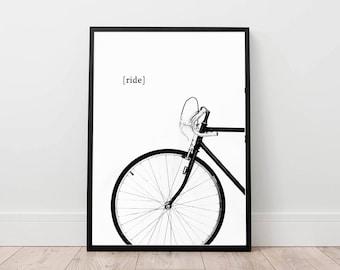 bike print, bicycle poster, cycling wall art, minimal wall decor, ride a bike digital, black and white printable art, contemporary decor
