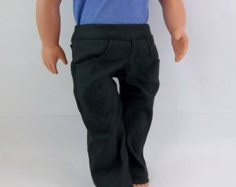 18 inch Boy Doll  Black Straight Leg  Jeans with Real Pockets fits American Girl Doll