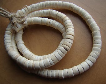 White Colored Coconut Heishi Shaped 7-8mm Size One Strand 23""
