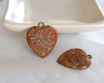 Love Bird Heart Pendant, Rust Patina Verdigris Aged Brass, 27x23mm, 1 Piece