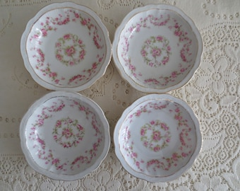 Set of 4 Vintage Antique China Zeh Scherzer Berry Bowls. Shabby Chic China Floral Bowls, Tea Party, Bridal Shower. Wedding Bridesmaid Gift