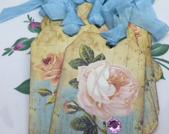 Victorian Roses Postcard Gift Tags  Shabby Floral Gift Tags Postcard Tags Set of 8