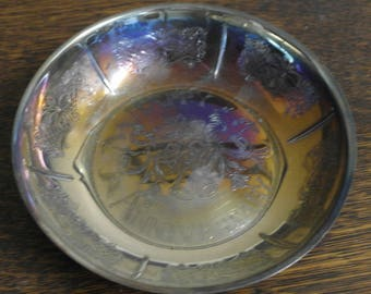 vintage silver plate bowl happy anniversary