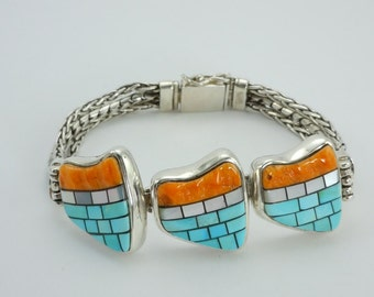 Sterling Silver Bracelet,Turquoise, Mother of Pearl, Spiny Oyster, Inlaid Stones