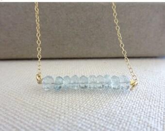 Aquamarine necklace, Gemstone bar Necklace, March birthstone necklace, Birthstone jewelry, Zodiac jewelry