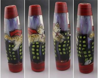 SRA Lampwork Bead OOAK Art Glass Focal Bead Lampwork Cat Bead Kitty Lover Gift Artisan Flamework Bead Super Cat Heather Behrendt 6037